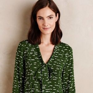 Anthropologie Maeve Green Cloud Neck Tie Blouse S